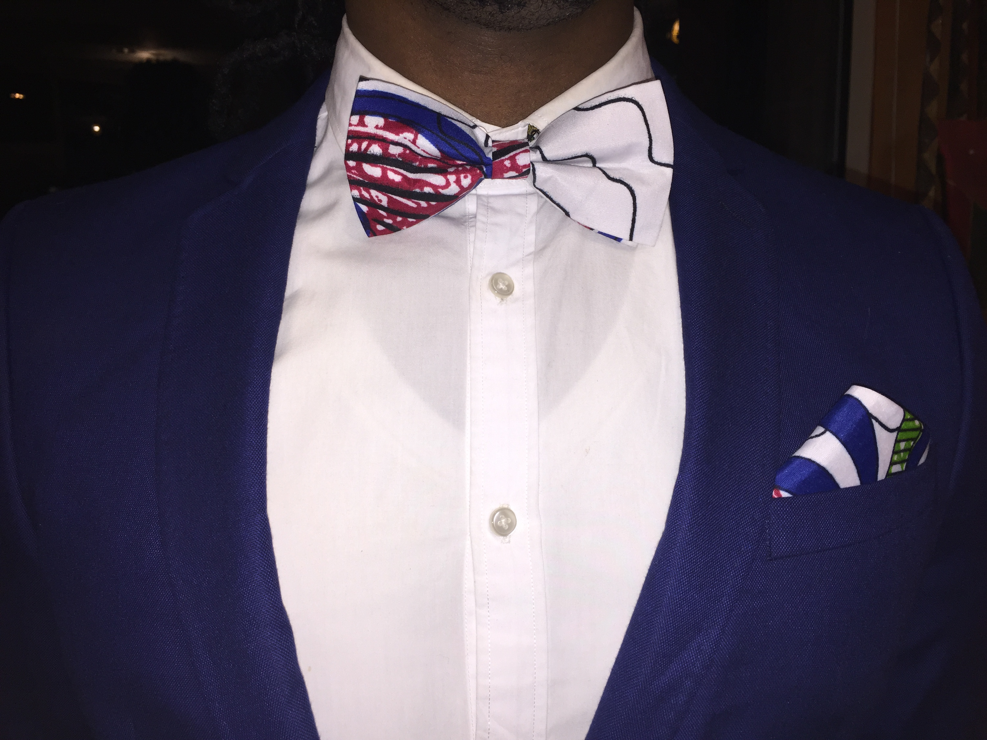 ef22a439a8c3 The Ambassador (Pre-Tied Bow Tie) + Pocket Square – Blue/Red/White ...